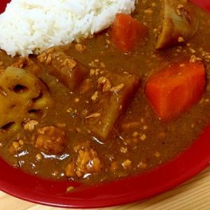 根菜とひき肉のカレーライス
