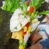 大根の甘酢漬け入りサラダ手巻き寿司