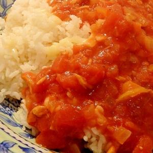 残ったカレーで★トマトツナチーズご飯