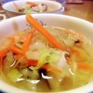 白菜と春雨の生姜風味スープ
