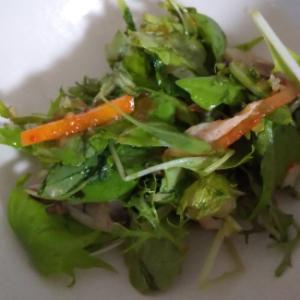 焼鯖とキムチ和えた・ベビーリーフのサラダ