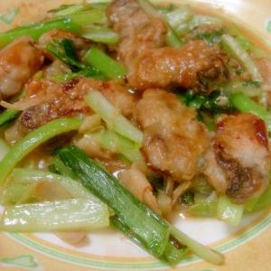 栄養まんてん◎カキと小松菜の味噌炒め