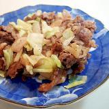 創味シャンタンで 牛肉・玉ねぎ・キャベツ炒め
