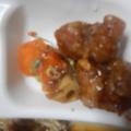 鶏唐揚げと根菜の甘酢あん炒め