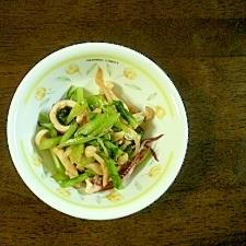 いかとかぶの葉の中華炒め