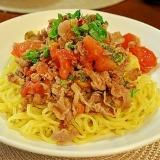 牛肉とトマトのさっぱり炒めでつけラーメン