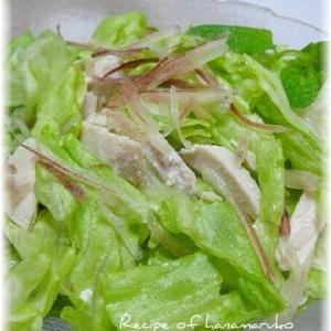 鶏ハムとレタスとみょうがのゆず胡椒サラダ
