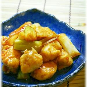 鶏ささみと長葱の照り焼き