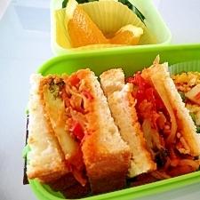 ピザトースト風サンドイッチのお弁当