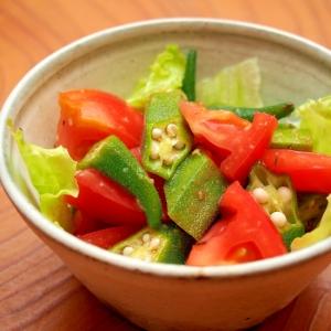 簡単おつまみ!にんにく香るオクラとトマトのサラダ
