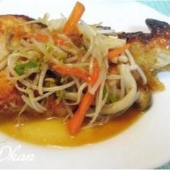 野菜たっぷり☆鶏ムネ肉のポン酢照り焼き