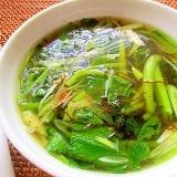 小松菜ともずく酢のスープ