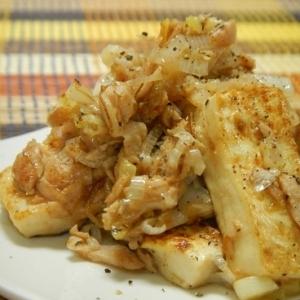 豆腐とツナとネギの炒め物