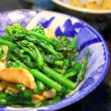 のらぼう菜と豚肉のしょうゆ炒め