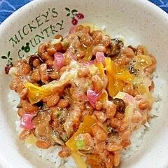 納豆の食べ方-オリーブオイル&漬物三昧♪