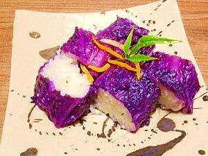 柚子塩昆布ご飯☆紫白菜巻き