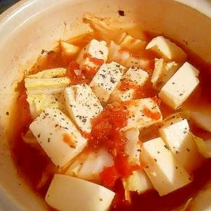 土鍋で☆白菜と豆腐 トマト蒸し