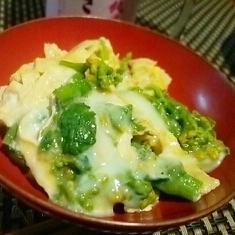 フライパンで簡単、筍姫皮とん菜の花の卵とじ