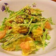 市販のごまドレで♪かぼちゃと水菜のサラダ