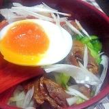 焼き肉と野菜たっぷり具だくさん冷麺