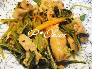 シャキシャキ☆壬生菜と豚肉の炒め物