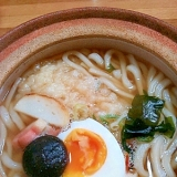 冷凍うどんde鍋やきうどん(^^) 半熟卵が美味