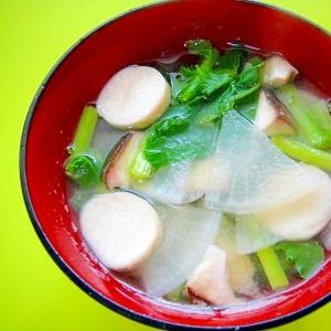 大根とかき菜エリンギの味噌汁