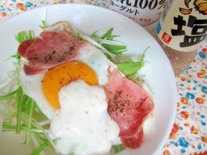 うま塩ヨーグルトベーコンエッグ水菜丼