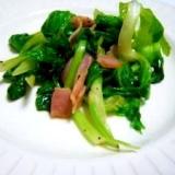 セロリの葉とベーコン炒め