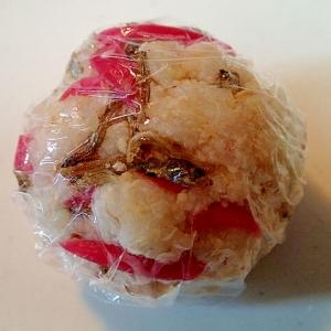 味付けちりめんと紅生姜と胡桃のおからおにぎり♪