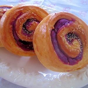 生地はHB☆彩りキレイな♪紫いものうず巻きあんパン