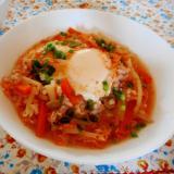 人参ともやしのピリ辛玄米スープご飯