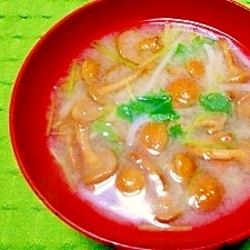 毎日のお味噌汁106杯目*ナメコ、モヤシ、三つ葉