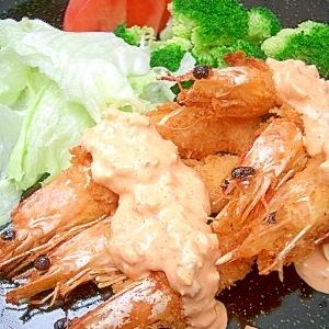 コチュ・マヨ・タルタルソースで食べるエビフライ