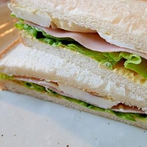 大人のサンドイッチ(レタス・ハム・ゆで卵)♬