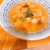 角切りポテトとベーコン、サラダ豆のヘルシースープ♪