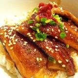 ふわ♪サクッ!!秋刀魚の照り焼き丼(梅肉添え)