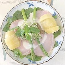 ほうれん草(サラダ用)、ロースハム、キウイのサラダ