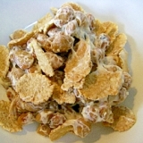 玄米フレーク&マヨ&粉チーズ DE 納豆❤
