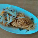 野菜と豚肉の皿うどん