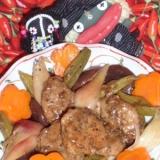 茗荷と豚肉の黒酢炒め