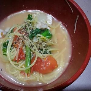 ラーメン豚骨スープでパスタ