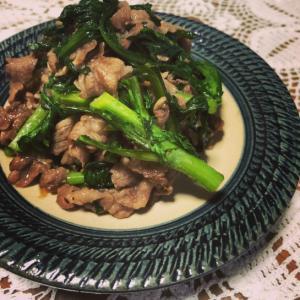 牛肉と春菊の甘辛炒め