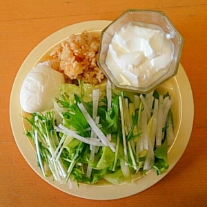 チャーハン&サラダ&卵&ヨーグルトのワンプレート