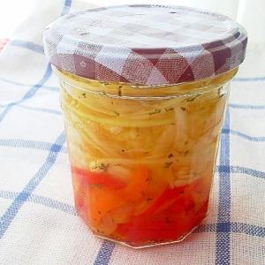 3色パプリカと玉ねぎのバジル香るマリネ(酢漬け)