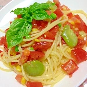 トマトとそら豆の冷スパゲティー(冷凍庫の一斉掃除)