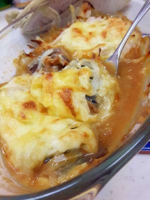 オーブントースターで!サバ缶と玉ねぎのチーズ焼き♪