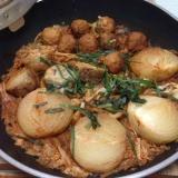 里芋と玉ねぎのキムチ鍋風煮♪