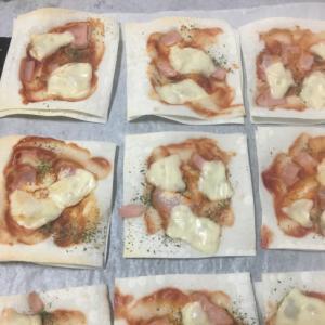 ワンタンの皮でピザ!