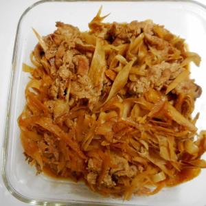 豚肉とピーラーゴボウの甘辛生姜煮